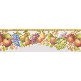 6 1/2 in x 15 ft Prepasted Wallpaper Borders - Yellow White Molding Fruits Floral Wall Paper Border