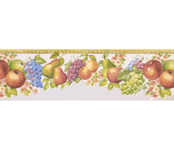 Garden Wallpaper Borders: Yellow White Molding Fruits Floral Wallpaper Border
