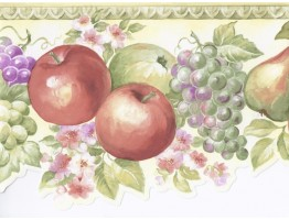Prepasted Wallpaper Borders - Green White Fruits Floral Wall Paper Border