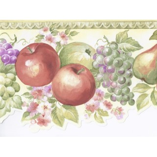 7 in x 15 ft Prepasted Wallpaper Borders - Green White Fruits Floral Wall Paper Border
