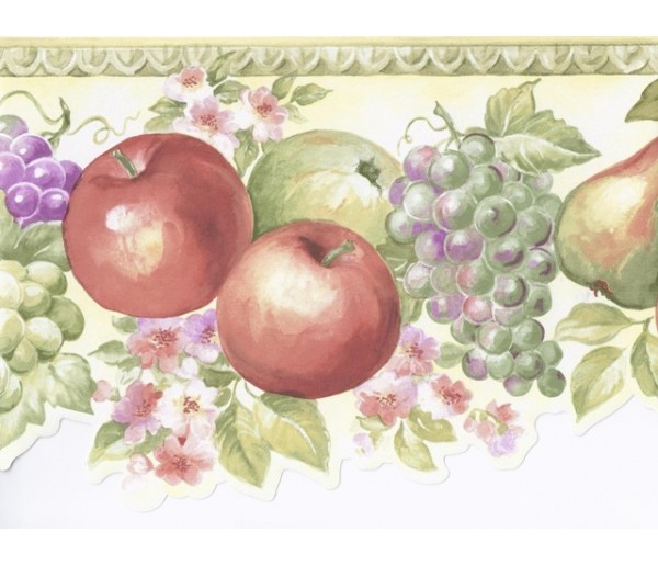 Clearance: Green White Fruits Floral Wallpaper Border