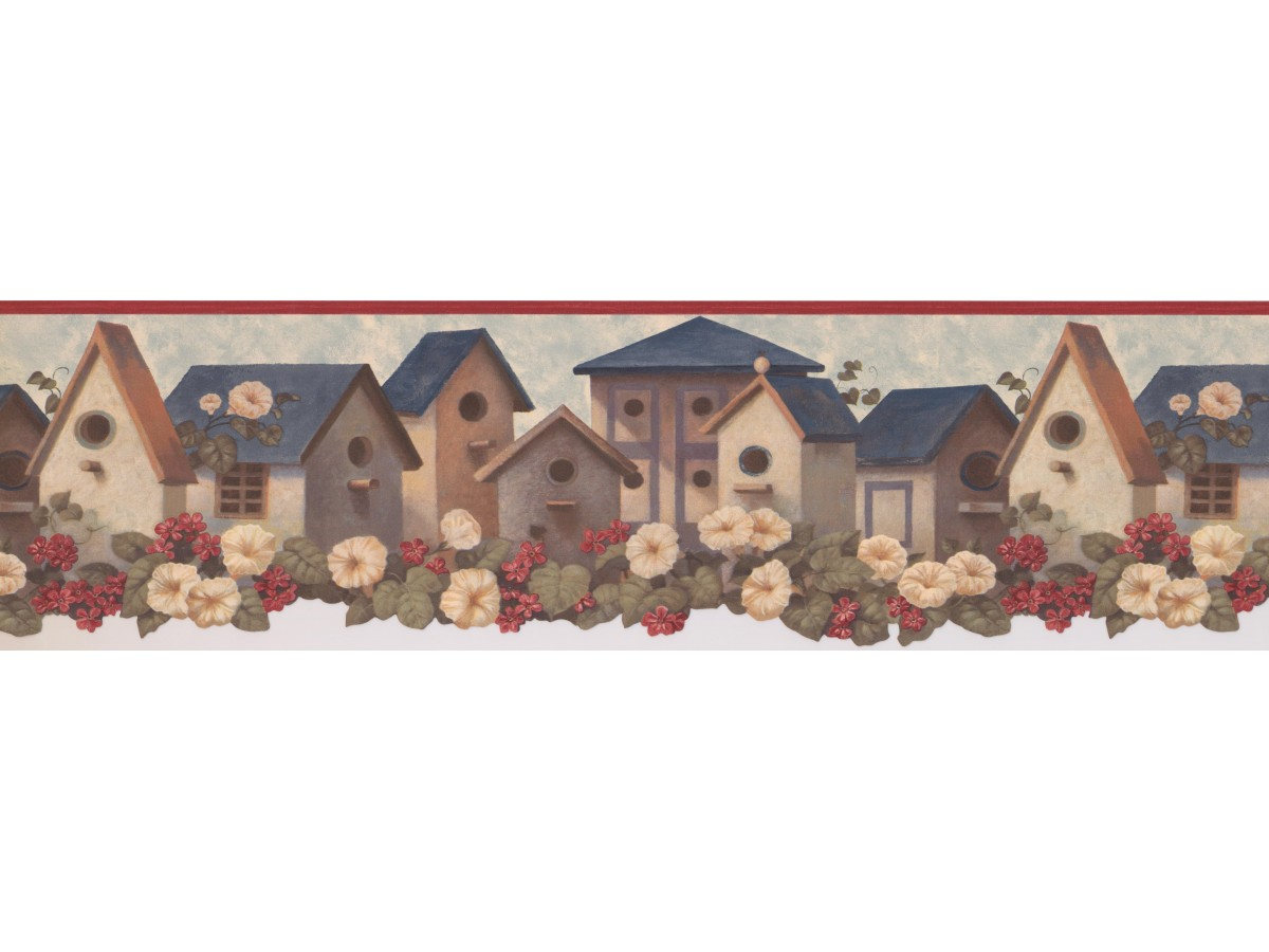 Clearance Red Blue Birdhouses Wallpaper Border