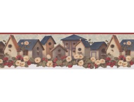 6 1/4 in x 15 ft Prepasted Wallpaper Borders - Red Blue Birdhouses Wall Paper Border