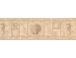 Beige Shell Brick Wallpaper Border