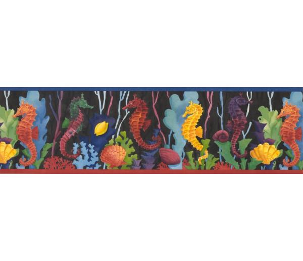 Sea World Borders Red Blue Seahorses Wallpaper Border York Wallcoverings