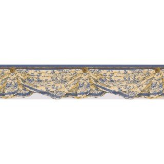 5 in x 15 ft Prepasted Wallpaper Borders - Blue Yellow Inn Drop Wall Paper Border