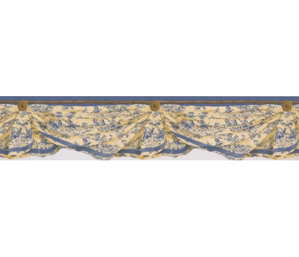 Laundry Wallpaper Borders: Blue Yellow Inn Drop Wallpaper Border