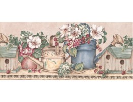 Prepasted Wallpaper Borders - Brown Birdhouses and Gardening Wall Paper Border