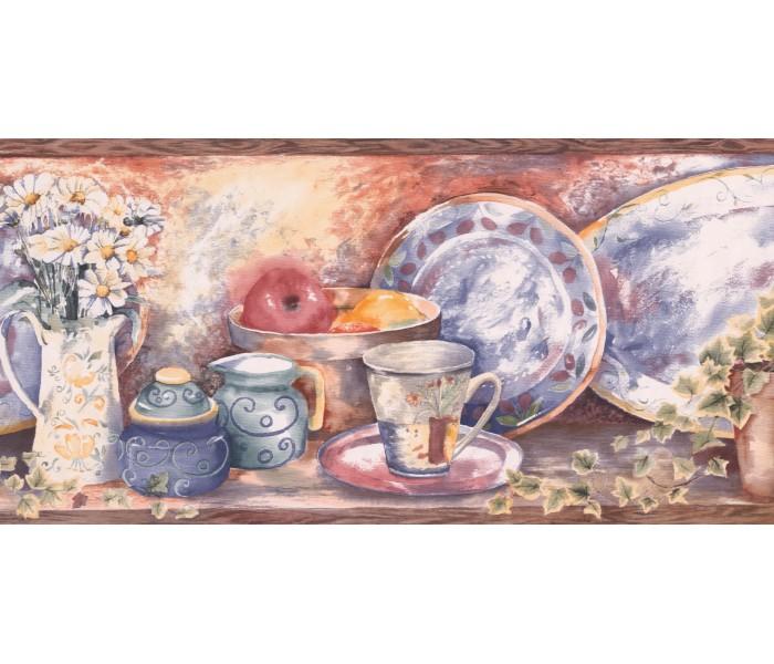 Kitchen Wallpaper Borders: White Daisy Jar Wallpaper Border
