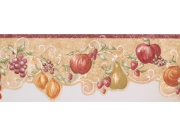 Prepasted Wallpaper Borders - Orange Apple Grape Wall Paper Border