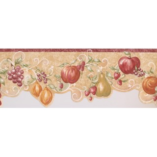 10 in x 15 ft Prepasted Wallpaper Borders - Orange Apple Grape Wall Paper Border