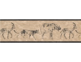 Black Cream African Animals Wallpaper Border