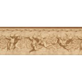 Prepasted Wallpaper Borders - Brown Flying Angels Wall Paper Border