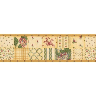 7 in x 15 ft Prepasted Wallpaper Borders - Yellow Pink Roses Wall Paper Border