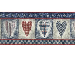 Prepasted Wallpaper Borders - Blue Red Running Hearts Wall Paper Border