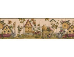 Black Cream Bird House Garden Wallpaper Border