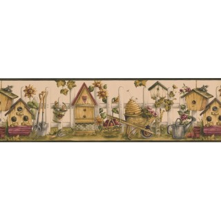 7 in x 15 ft Prepasted Wallpaper Borders - Black Cream Bird House Garden Wall Paper Border