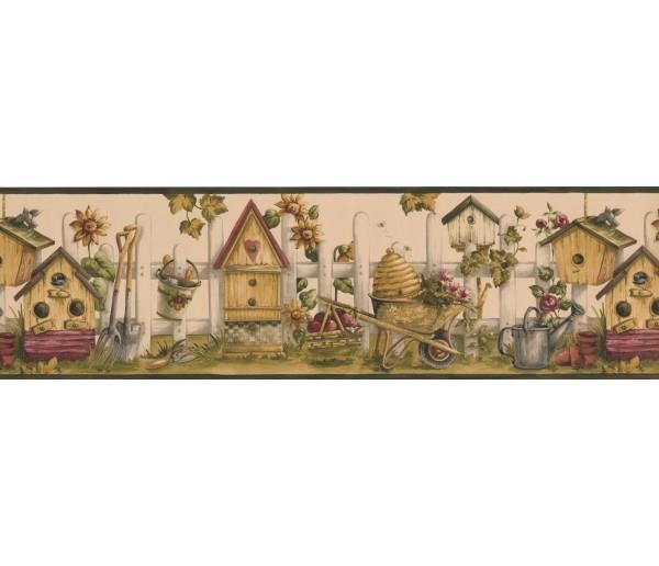 Bird Houses Black Cream Bird House Garden Wallpaper Border