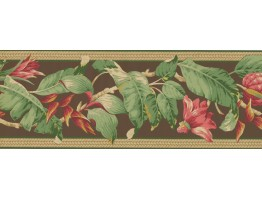 Prepasted Wallpaper Borders - Pink Petal Fresh leaves Wall Paper Border
