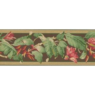 9 in x 15 ft Prepasted Wallpaper Borders - Pink Petal Fresh leaves Wall Paper Border