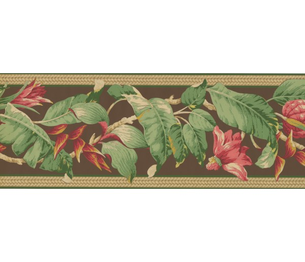 Clearance: Pink Petal Fresh leaves Wallpaper Border
