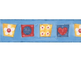 Blue Yellow Red Hearts Flowers Abstract Wallpaper Border
