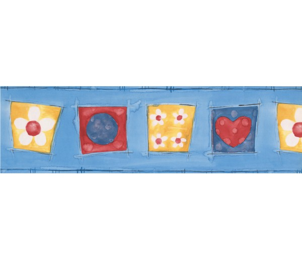 Kids Wallpaper Borders: Blue Yellow Red Hearts Flowers Abstract Wallpaper Border