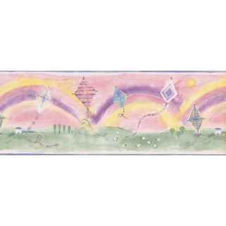 9 in x 15 ft Prepasted Wallpaper Borders - Flying Kites in Rainbow Background Wall Paper Border