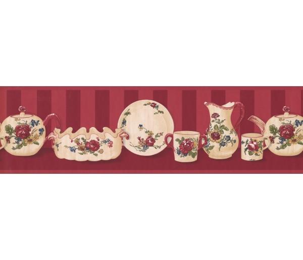 Kitchen Wallpaper Borders: Floral Dishes Wallpaper Border