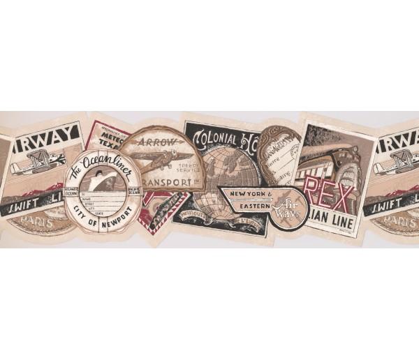Vintage Borders Vintage Travel Tags Wallpaper Border York Wallcoverings