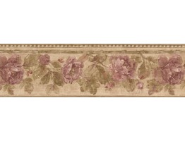 Moss Rose Vine Wallpaper Border