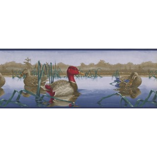 9 in x 15 ft Prepasted Wallpaper Borders - Red Duck Wall Paper Border