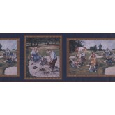 Country Wallpaper Borders: Dark Blue Framed Country Golf Scene Wallpaper Border