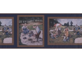 Prepasted Wallpaper Borders - Dark Blue Framed Country Golf Scene Wall Paper Border