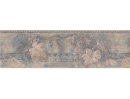 Prepasted Wallpaper Borders - Silver Blue Floral Blueberry Wall Paper Border
