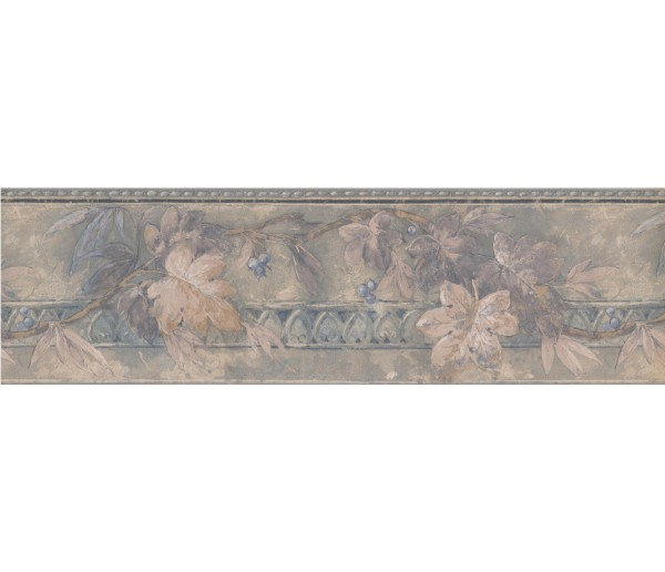Vintage Wallpaper Borders: Silver Blue Floral Blueberry Wallpaper Border