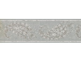 Prepasted Wallpaper Borders - Teal Silver White Floral Wall Paper Border