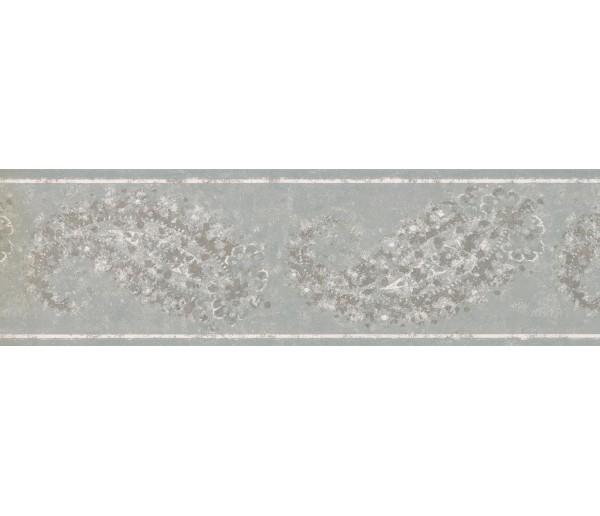 Vintage Wallpaper Borders: Teal Silver White Floral Wallpaper Border