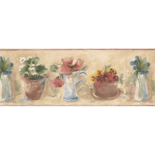 9 in x 15 ft Prepasted Wallpaper Borders - Red Hisbicus Wall Paper Border