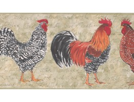 Prepasted Wallpaper Borders - Light Moss Rooster Wall Paper Border