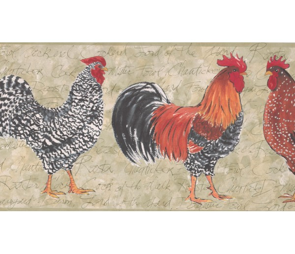 Roosters Wallpaper Borders: Light Moss Rooster Wallpaper Border