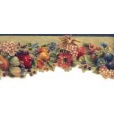 Garden Wallpaper Borders: Tropical Fruits on Brown Mesh Wallpaper Border
