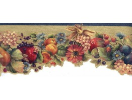 Tropical Fruits on Brown Mesh Wallpaper Border