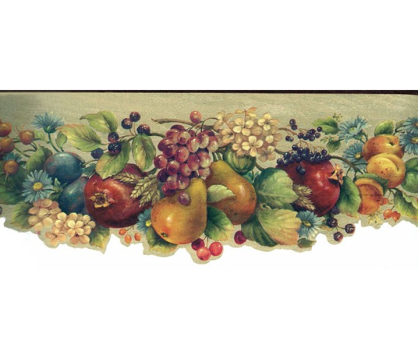 Prepasted Wallpaper Borders - Colourful Tropical Flowers Wall Paper Border