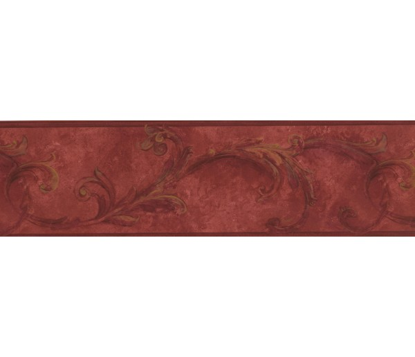 Prepasted Wallpaper Borders - Maroon Brown Vintage Floral Wall Paper Border
