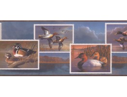 Prepasted Wallpaper Borders - Flying Wood Ducks Wall Paper Border