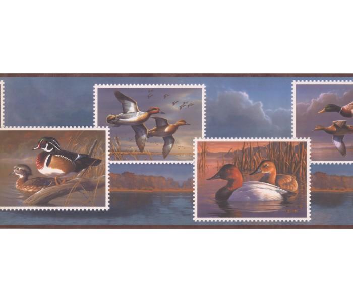 Birds  Wallpaper Borders: Flying Wood Ducks Wallpaper Border