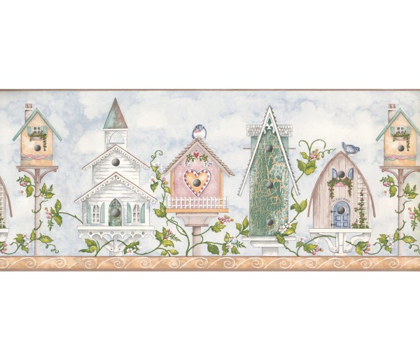 Bird Houses Wallpaper Borders: House Heart Chruch Wallpaper Border