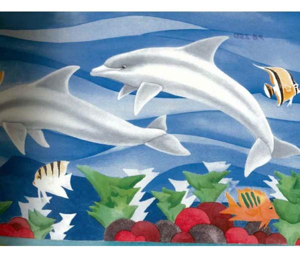 White Dolphines Wallpaper Border