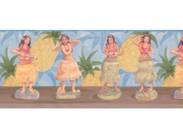Blue Pineapple Hula Dolls Wallpaper Border